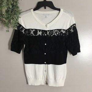New York & Company Black & Cream Lace Cardigan